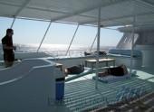 Crociera in Oman, foto del ponte sole della motonave in navigazione nel Mar Arabico.