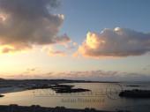 Pesca nelle Isole del Sud Oman, Oceano Indiano. Foto dell' alba sul mare dal Lodge dei pescatori.