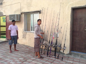 Pesca nelle Isole del Sud Oman, Oceano Indiano, famose per la pesca da Big Game. Foto attrezzatura dei pescatori sistemati nel Lodge della isola dei pescatori.