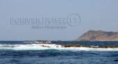 Pesca in Oman Sud da riva, foto di uno spot sulle coste nel Dhofar, intorno a Salalah nel Mar Arabico, parte dell' Oceano Indiano.