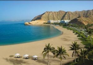 Vacanze in Oman, foto della spiaggia hotel a nord di Muscat